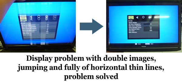 display double images, jumping and horizontal lines problem solved